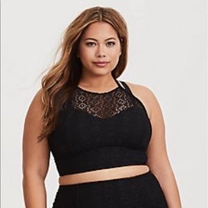Torrid Size 2 Black Crochet Wireless Bikini Top